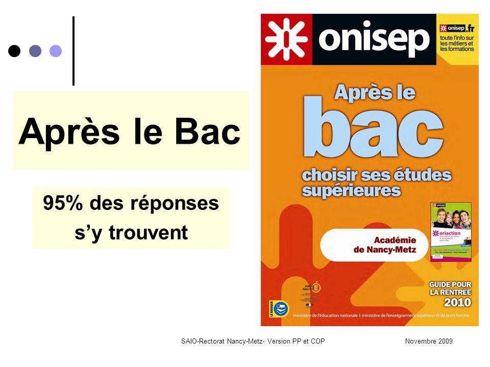 Novembre 2009SAIO-Rectorat Nancy-Metz- Version PP et COP Après le Bac 95% des réponses s'y trouvent