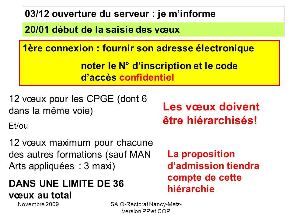 Novembre 2009SAIO-Rectorat Nancy-Metz- Version PP et COP 03/12 ouverture du serveur : je m'informe 20/01 début de la saisie des vœux 12 vœux pour les