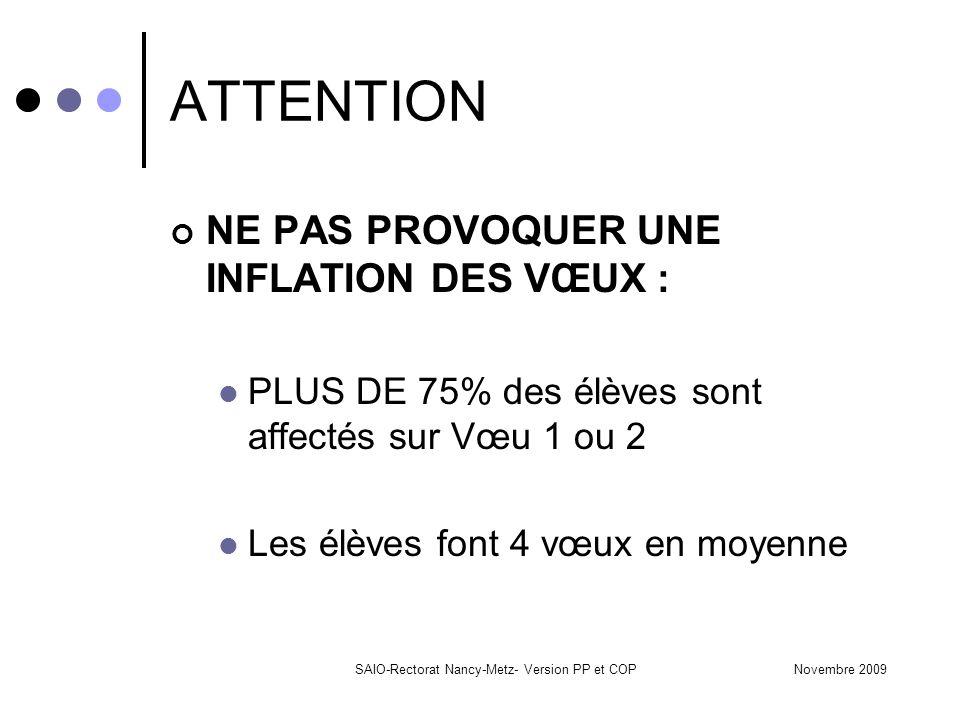 Novembre 2009SAIO-Rectorat Nancy-Metz- Version PP et COP ATTENTION NE PAS PROVOQUER UNE INFLATION DES VŒUX : PLUS DE 75% des élèves sont affectés sur Vœu 1 ou 2 Les élèves font 4 vœux en moyenne