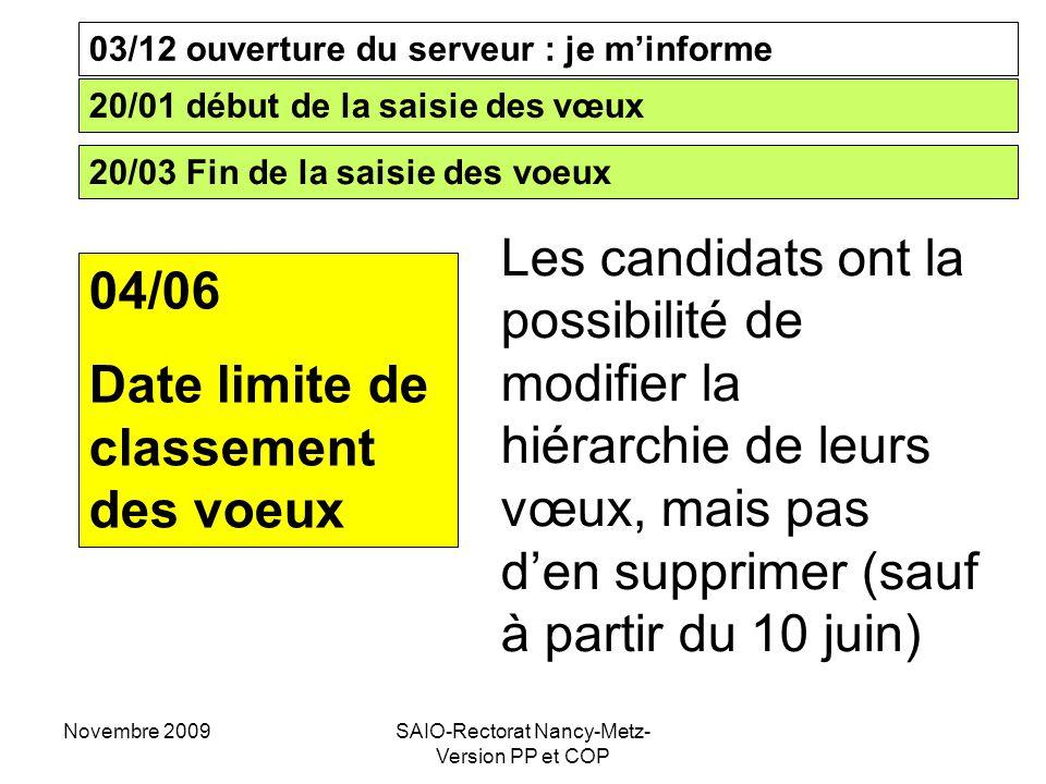 Novembre 2009SAIO-Rectorat Nancy-Metz- Version PP et COP 03/12 ouverture du serveur : je m'informe 20/01 début de la saisie des vœux 20/03 Fin de la s