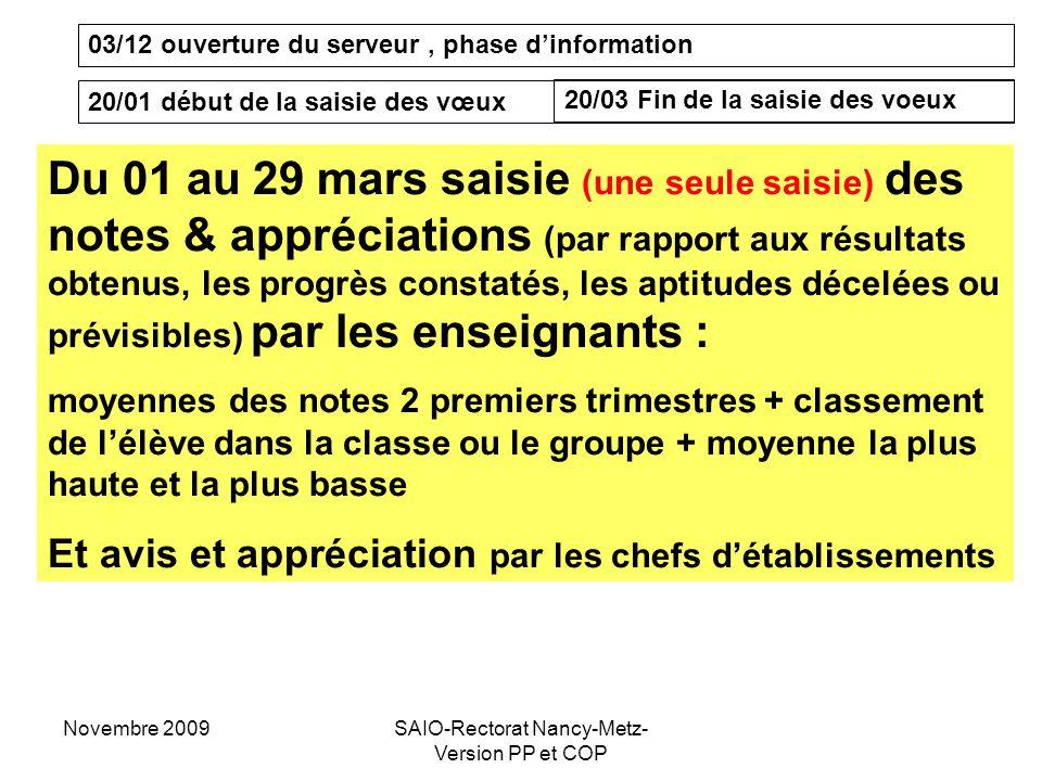 Novembre 2009SAIO-Rectorat Nancy-Metz- Version PP et COP 03/12 ouverture du serveur, phase d'information 20/01 début de la saisie des vœux 20/03 Fin d