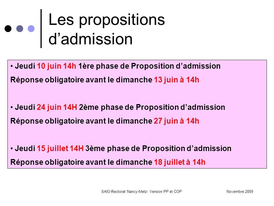 Novembre 2009SAIO-Rectorat Nancy-Metz- Version PP et COP Les propositions d'admission Jeudi 10 juin 14h 1ère phase de Proposition d'admission Réponse