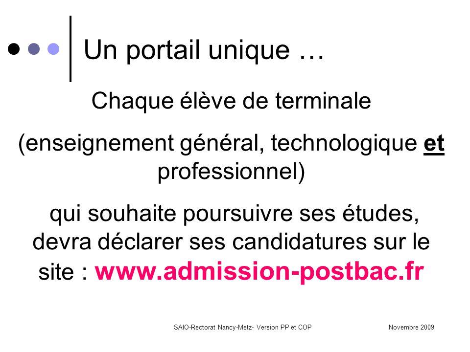 Novembre 2009SAIO-Rectorat Nancy-Metz- Version PP et COP Un portail unique … Chaque élève de terminale (enseignement général, technologique et profess