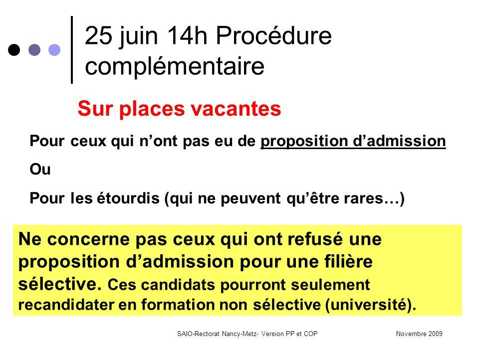 Novembre 2009SAIO-Rectorat Nancy-Metz- Version PP et COP 25 juin 14h Procédure complémentaire Sur places vacantes Pour ceux qui n'ont pas eu de proposition d'admission Ou Pour les étourdis (qui ne peuvent qu'être rares…) Ne concerne pas ceux qui ont refusé une proposition d'admission pour une filière sélective.
