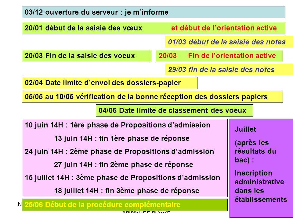 Novembre 2009SAIO-Rectorat Nancy-Metz- Version PP et COP 03/12 ouverture du serveur : je m'informe 20/01 début de la saisie des vœux et début de l'orientation active 20/03 Fin de la saisie des voeux 02/04 Date limite d'envoi des dossiers-papier 04/06 Date limite de classement des voeux 10 juin 14H : 1ère phase de Propositions d'admission 13 juin 14H : fin 1ère phase de réponse 24 juin 14H : 2ème phase de Propositions d'admission 27 juin 14H : fin 2ème phase de réponse 15 juillet 14H : 3ème phase de Propositions d'admission 18 juillet 14H : fin 3ème phase de réponse Juillet (après les résultats du bac) : Inscription administrative dans les établissements 20/03 Fin de l'orientation active 25/06 Début de la procédure complémentaire 05/05 au 10/05 vérification de la bonne réception des dossiers papiers 29/03 fin de la saisie des notes 01/03 début de la saisie des notes