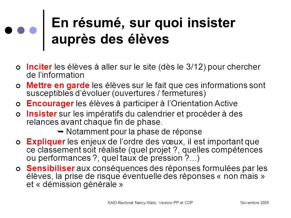 Novembre 2009SAIO-Rectorat Nancy-Metz- Version PP et COP En résumé, sur quoi insister auprès des élèves Inciter les élèves à aller sur le site (dès le