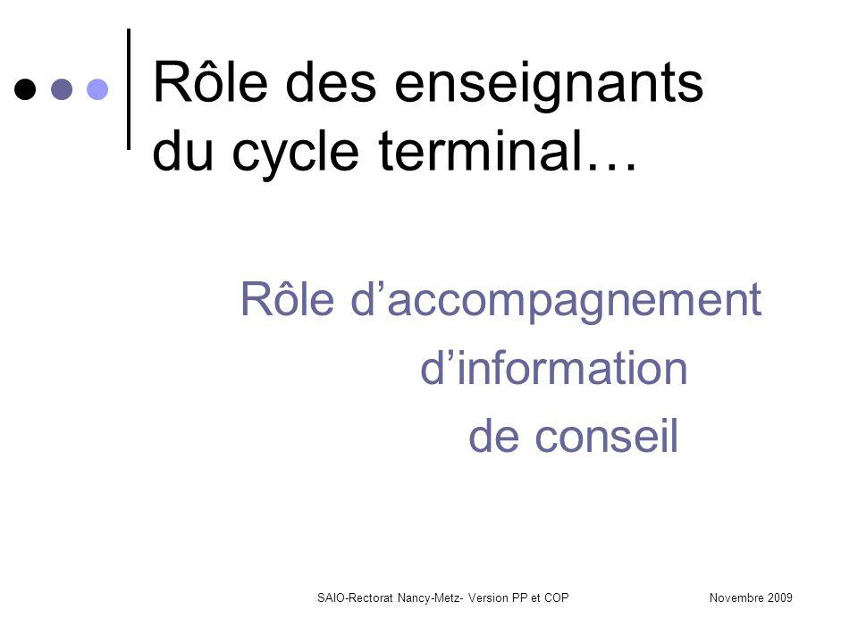 Novembre 2009SAIO-Rectorat Nancy-Metz- Version PP et COP Rôle des enseignants du cycle terminal… Rôle d'accompagnement d'information de conseil