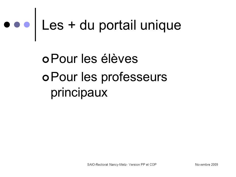 Novembre 2009SAIO-Rectorat Nancy-Metz- Version PP et COP Les + du portail unique Pour les élèves Pour les professeurs principaux