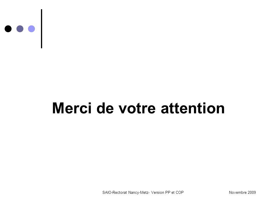 Novembre 2009SAIO-Rectorat Nancy-Metz- Version PP et COP Merci de votre attention