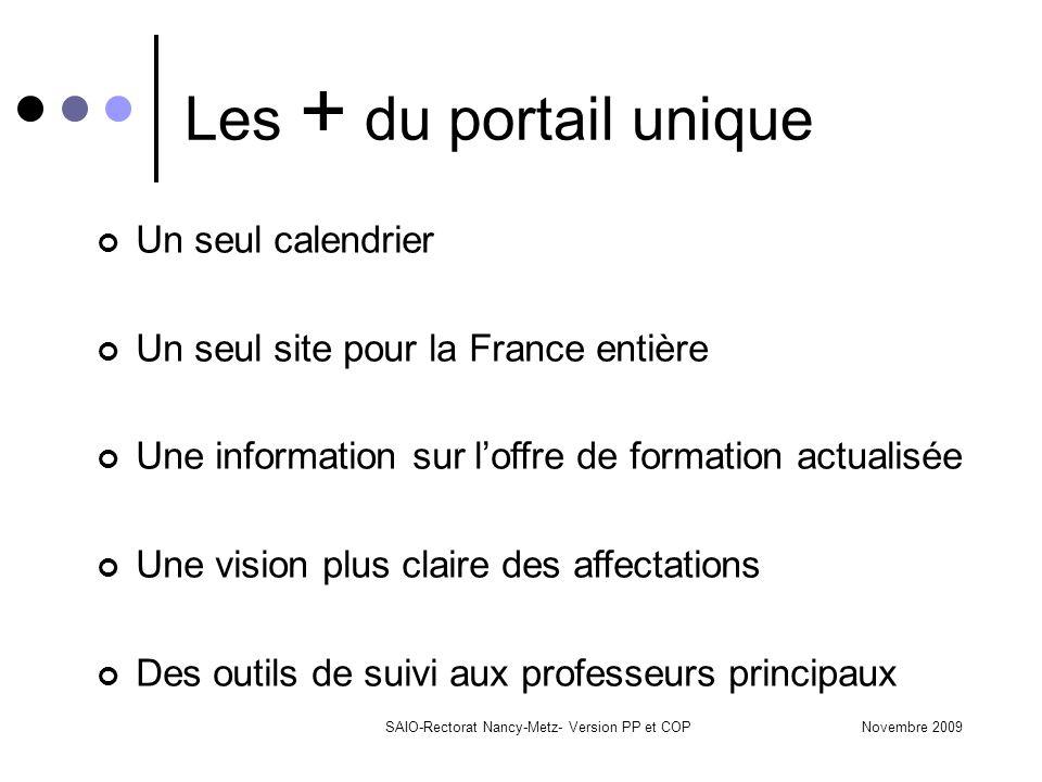 Novembre 2009SAIO-Rectorat Nancy-Metz- Version PP et COP Les + du portail unique Un seul calendrier Un seul site pour la France entière Une informatio