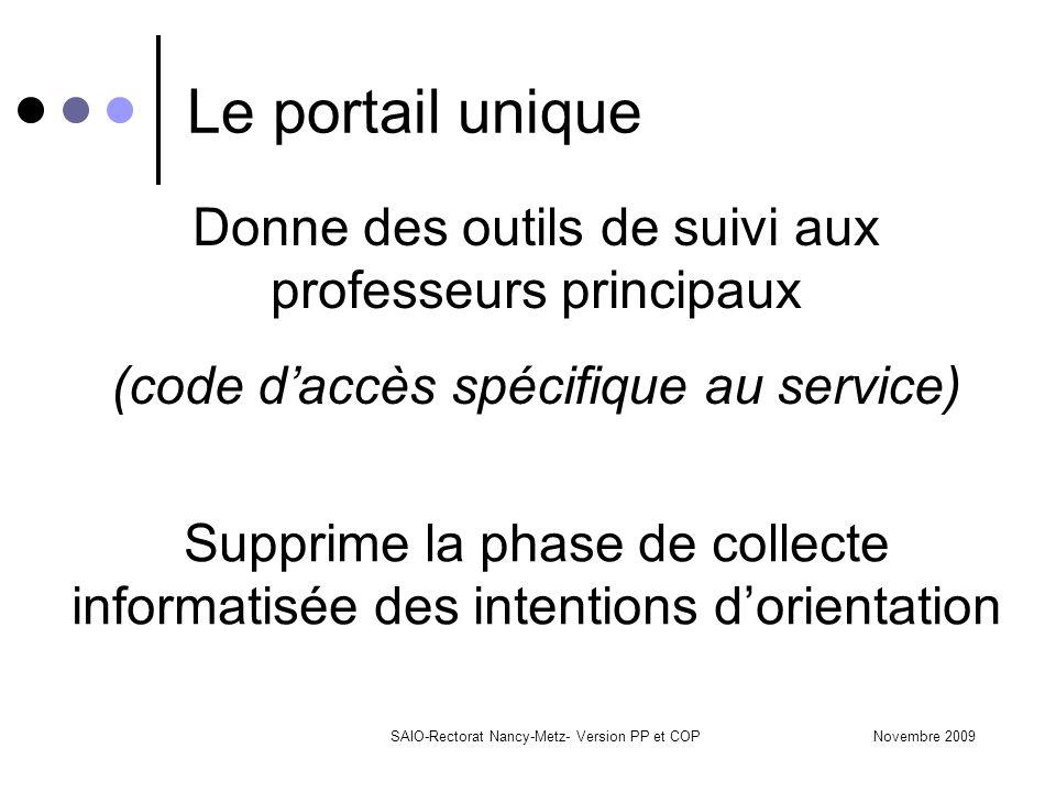 Novembre 2009SAIO-Rectorat Nancy-Metz- Version PP et COP Le portail unique Donne des outils de suivi aux professeurs principaux (code d'accès spécifiq