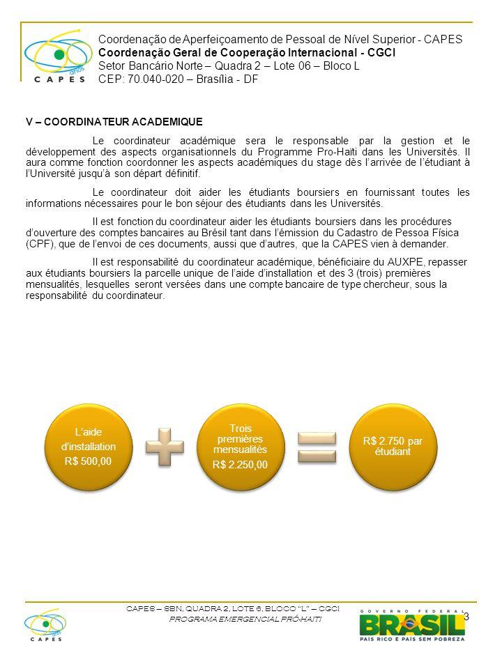 Coordenação de Aperfeiçoamento de Pessoal de Nível Superior - CAPES Coordenação Geral de Cooperação Internacional - CGCI Setor Bancário Norte – Quadra 2 – Lote 06 – Bloco L CEP: 70.040-020 – Brasília - DF CAPES – SBN, QUADRA 2, LOTE 6, BLOCO L – CGCI PROGRAMA EMERGENCIAL PRÓ-HAITI VI – RESPONSABILITES DE L'ETUDIANT BOURSIER Les étudiant haïtiens doivent obtenir leur passeport et arranger le visa d'étudiant auprès de l'Ambassade Brésilienne.