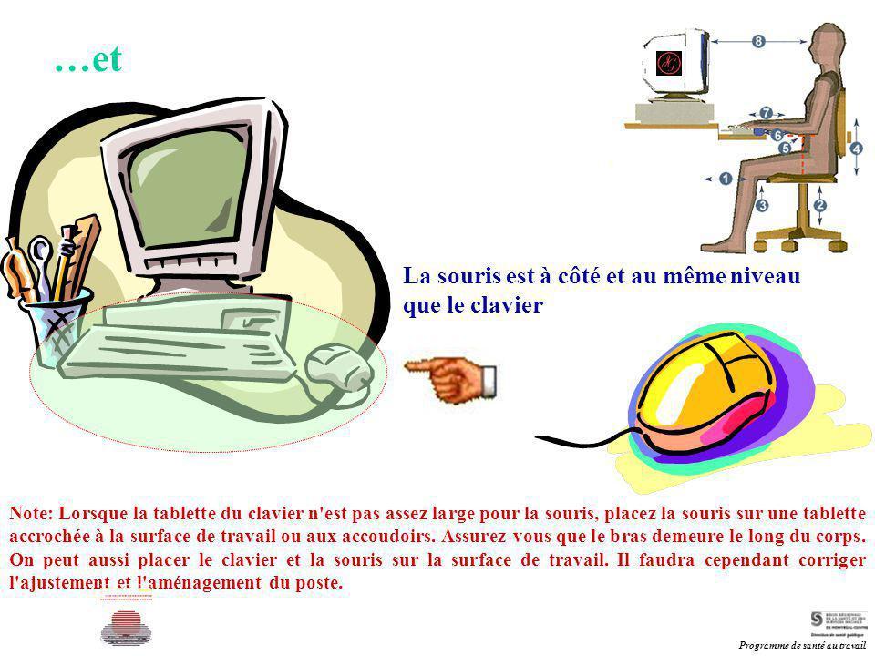 La souris est à côté et au même niveau que le clavier Note: Lorsque la tablette du clavier n'est pas assez large pour la souris, placez la souris sur