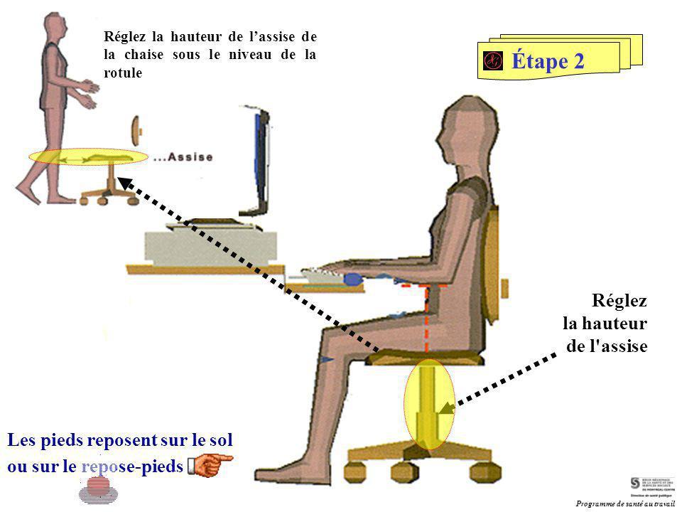 Les pieds reposent sur le sol ou sur le repose-pieds Réglez la hauteur de l'assise Étape 2 Réglez la hauteur de l'assise de la chaise sous le niveau d