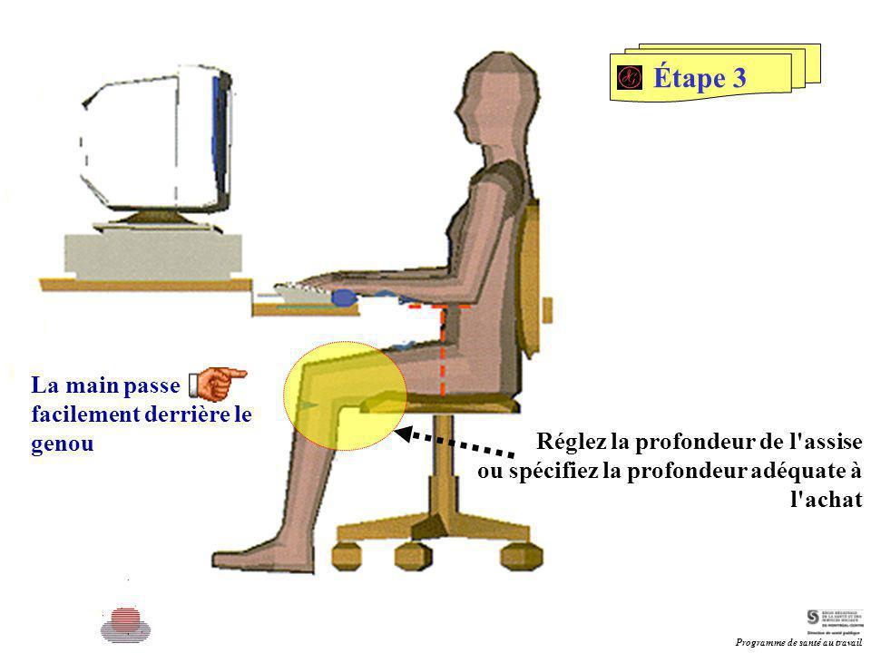 Étape 3 La main passe facilement derrière le genou Réglez la profondeur de l'assise ou spécifiez la profondeur adéquate à l'achat Programme de santé a