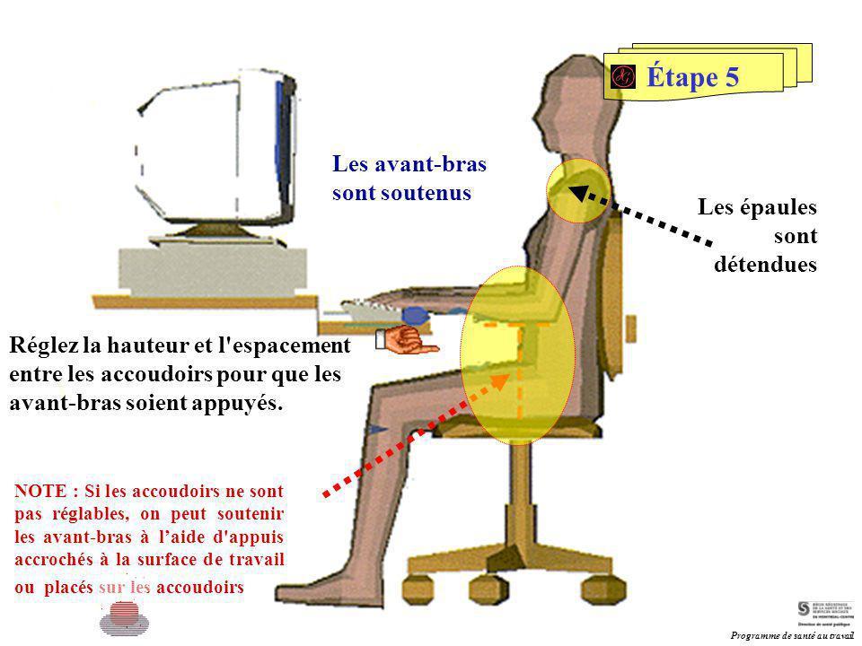 Étape 5 Les avant-bras sont soutenus Réglez la hauteur et l'espacement entre les accoudoirs pour que les avant-bras soient appuyés. NOTE : Si les acco