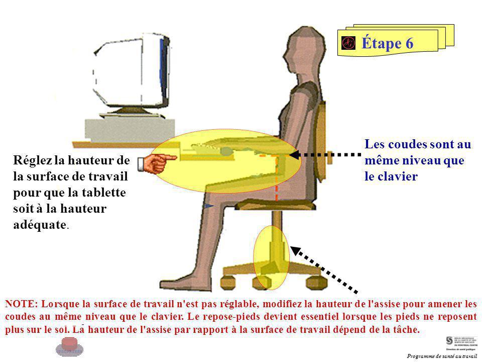 Étape 6 Les coudes sont au même niveau que le clavier Réglez la hauteur de la surface de travail pour que la tablette soit à la hauteur adéquate. NOTE