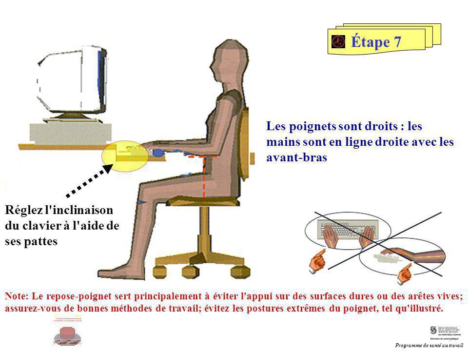 Étape 7 Les poignets sont droits : les mains sont en ligne droite avec les avant-bras Réglez l'inclinaison du clavier à l'aide de ses pattes Note: Le