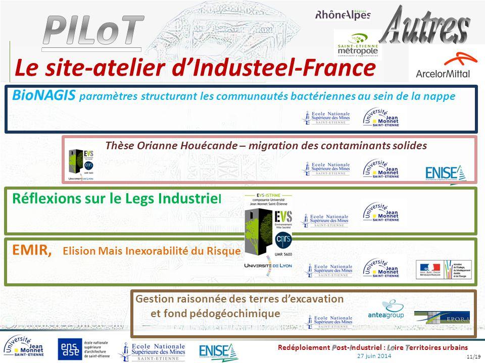 27 juin 2014 Le site-atelier d'Industeel-France BioNAGIS paramètres structurant les communautés bactériennes au sein de la nappe Thèse Orianne Houécan