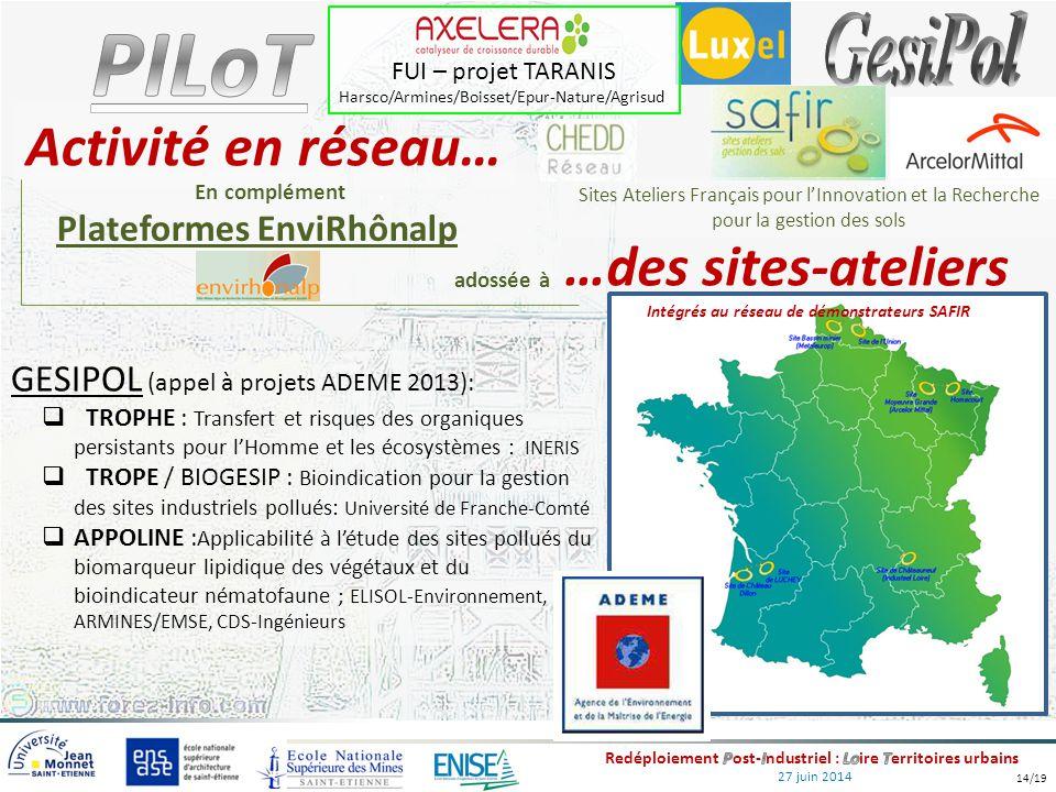 27 juin 2014 GESIPOL (appel à projets ADEME 2013):  TROPHE : Transfert et risques des organiques persistants pour l'Homme et les écosystèmes : INERIS