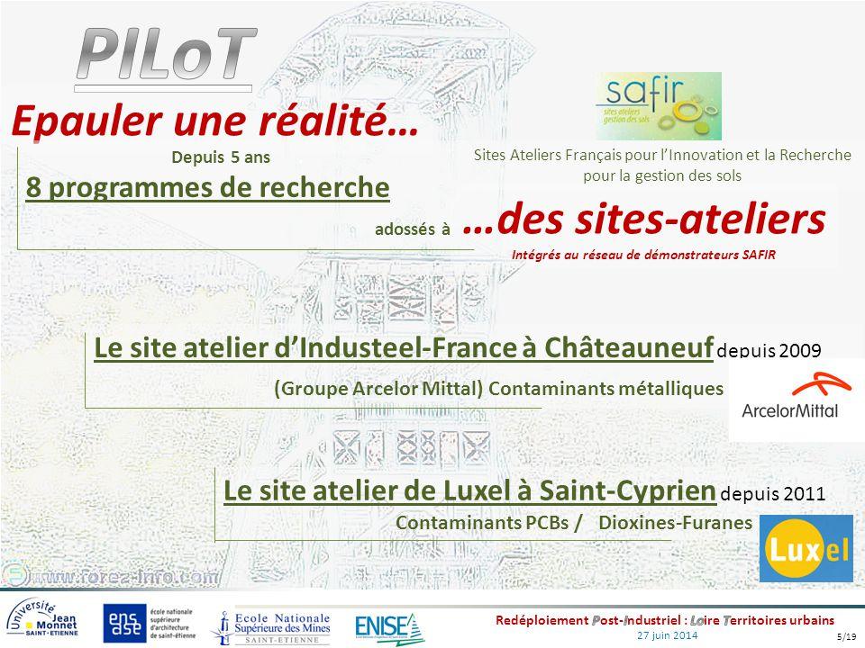 27 juin 2014 Epauler une réalité… …des sites-ateliers Intégrés au réseau de démonstrateurs SAFIR Le site atelier d'Industeel-France à Châteauneuf depu