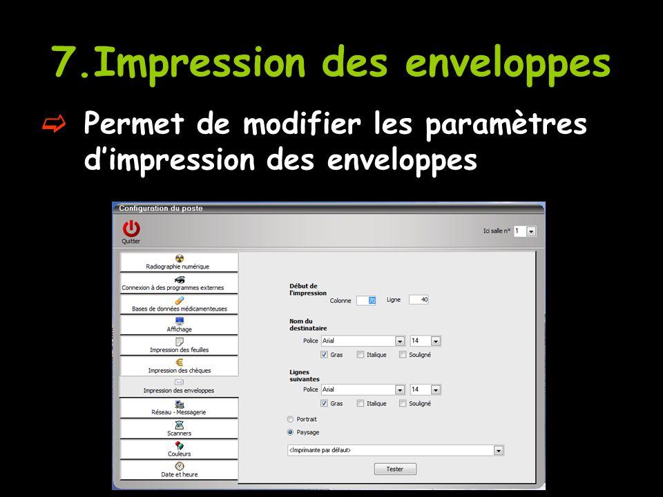 7.Impression des enveloppes  Permet de modifier les paramètres d'impression des enveloppes