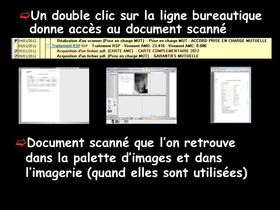  Un double clic sur la ligne bureautique donne accès au document scanné  Document scanné que l'on retrouve dans la palette d'images et dans l'imager