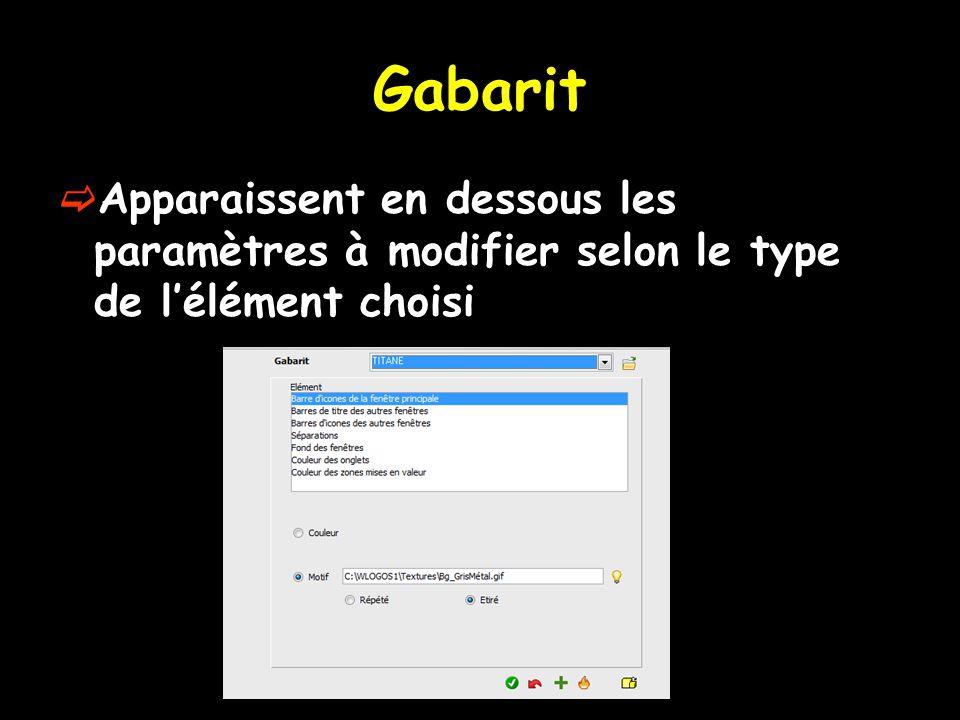 Gabarit  Apparaissent en dessous les paramètres à modifier selon le type de l'élément choisi