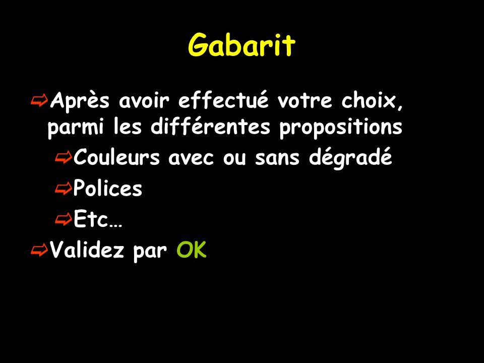 Gabarit  Après avoir effectué votre choix, parmi les différentes propositions  Couleurs avec ou sans dégradé  Polices  Etc…  Validez par OK