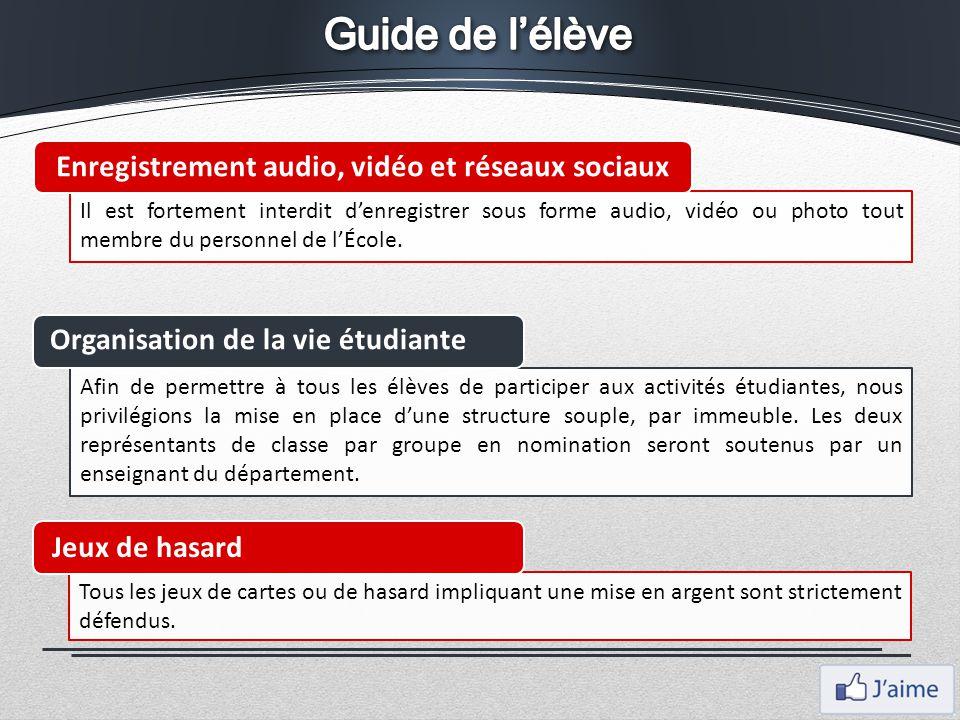 Il est fortement interdit d'enregistrer sous forme audio, vidéo ou photo tout membre du personnel de l'École. Enregistrement audio, vidéo et réseaux s