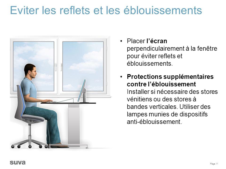 Page 11 Eviter les reflets et les éblouissements Placer l'écran perpendiculairement à la fenêtre pour éviter reflets et éblouissements. Protections su