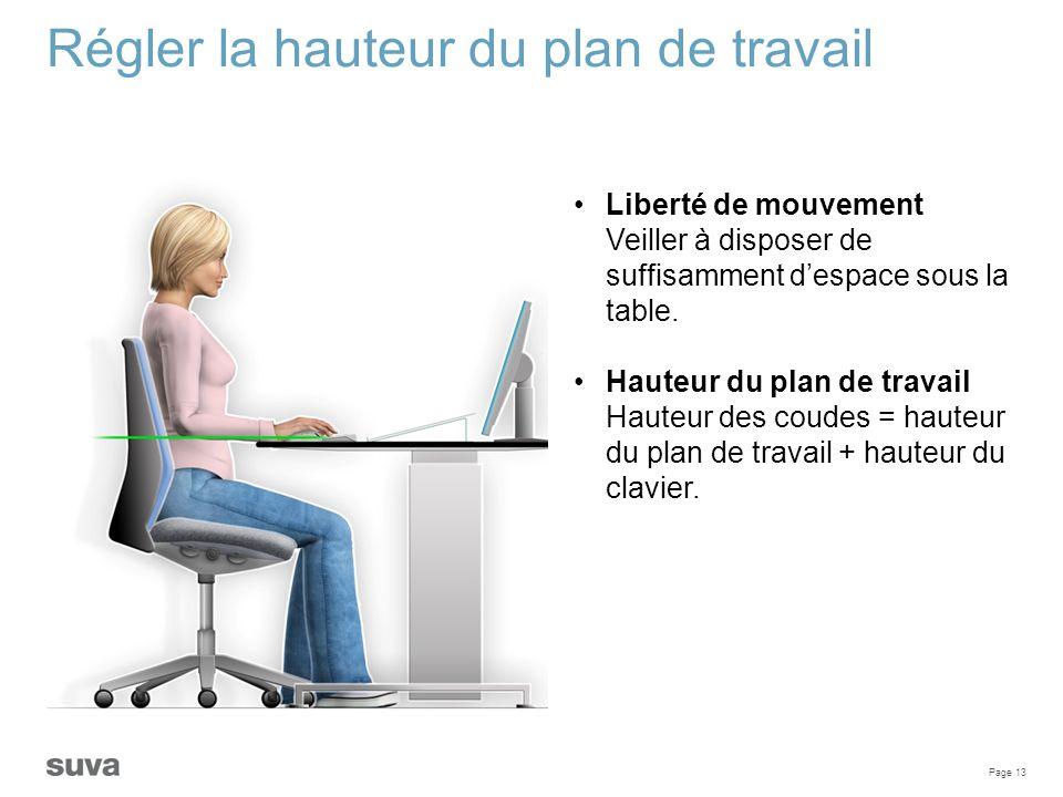 Page 13 Régler la hauteur du plan de travail Liberté de mouvement Veiller à disposer de suffisamment d'espace sous la table. Hauteur du plan de travai