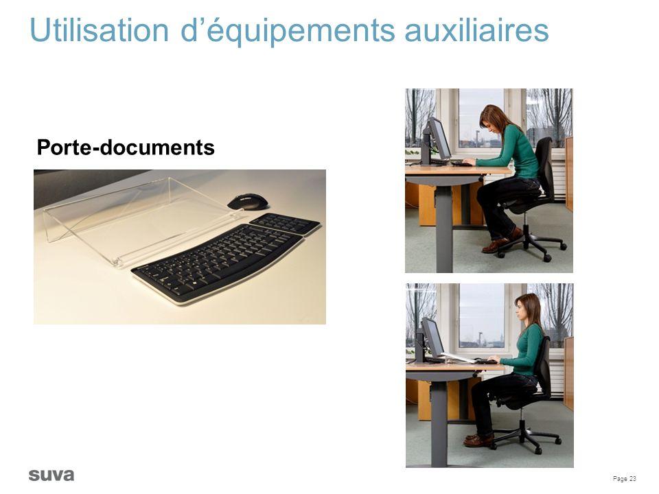 Page 23 Utilisation d'équipements auxiliaires Porte-documents