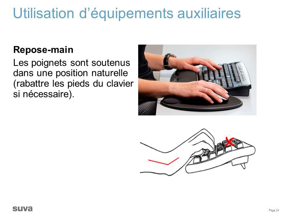 Page 24 Utilisation d'équipements auxiliaires Repose-main Les poignets sont soutenus dans une position naturelle (rabattre les pieds du clavier si néc