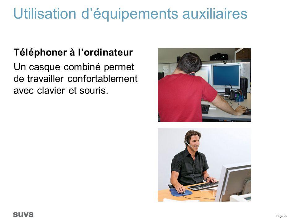 Page 25 Utilisation d'équipements auxiliaires Téléphoner à l'ordinateur Un casque combiné permet de travailler confortablement avec clavier et souris.