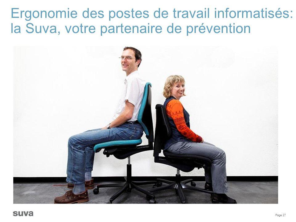 Page 27 Ergonomie des postes de travail informatisés: la Suva, votre partenaire de prévention