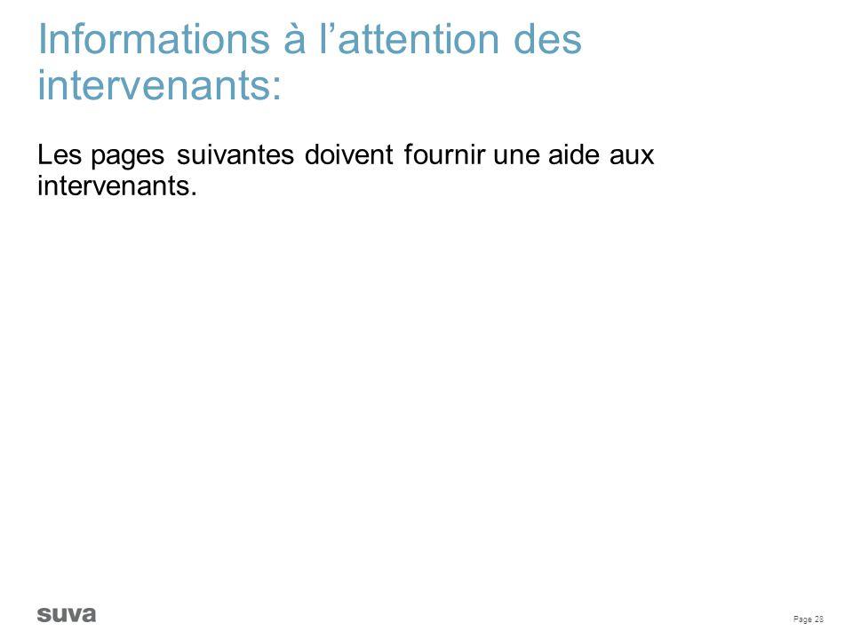 Page 28 Informations à l'attention des intervenants: Les pages suivantes doivent fournir une aide aux intervenants.