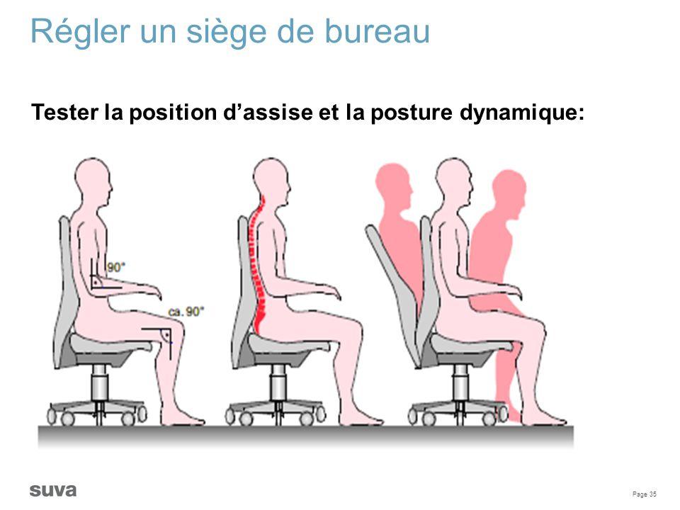 Page 35 Régler un siège de bureau Tester la position d'assise et la posture dynamique: