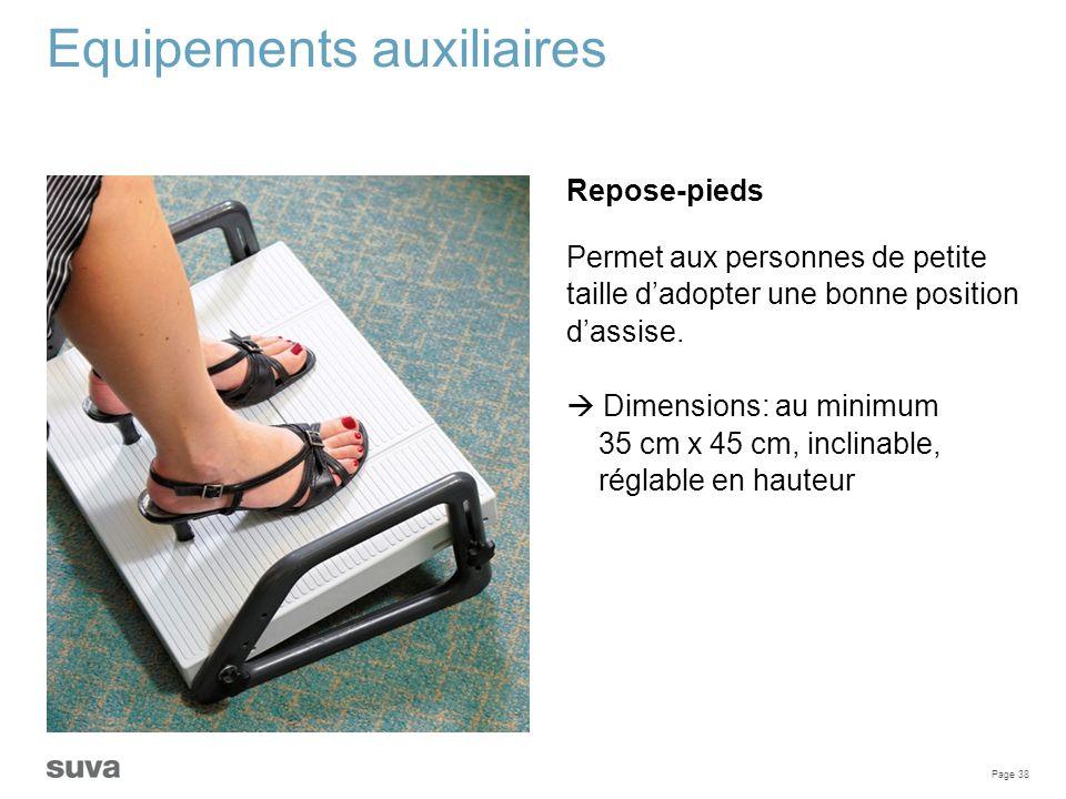 Page 38 Equipements auxiliaires Repose-pieds Permet aux personnes de petite taille d'adopter une bonne position d'assise.  Dimensions: au minimum 35