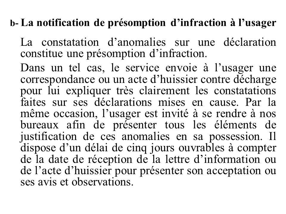b- La notification de présomption d'infraction à l'usager La constatation d'anomalies sur une déclaration constitue une présomption d'infraction. Dans