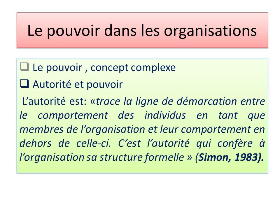 Le pouvoir dans les organisations  Le pouvoir, concept complexe  Autorité et pouvoir L'autorité est: «trace la ligne de démarcation entre le comportement des individus en tant que membres de l'organisation et leur comportement en dehors de celle-ci.