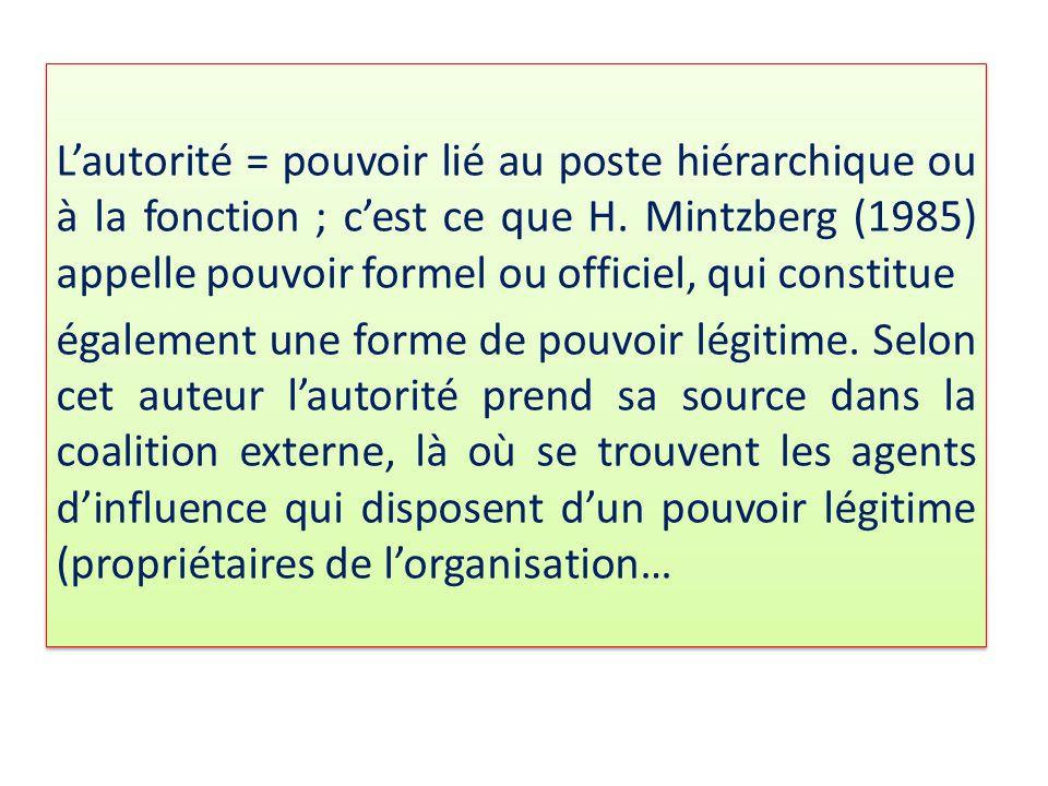 L'autorité = pouvoir lié au poste hiérarchique ou à la fonction ; c'est ce que H. Mintzberg (1985) appelle pouvoir formel ou officiel, qui constitue é