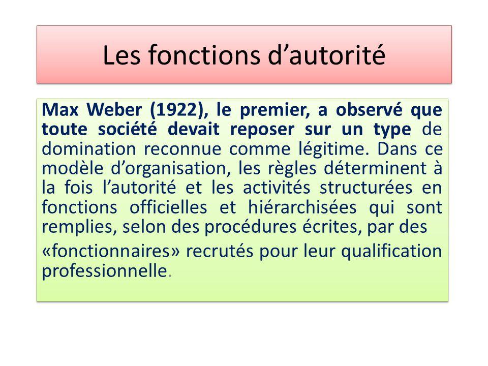 Les fonctions d'autorité Max Weber (1922), le premier, a observé que toute société devait reposer sur un type de domination reconnue comme légitime. D