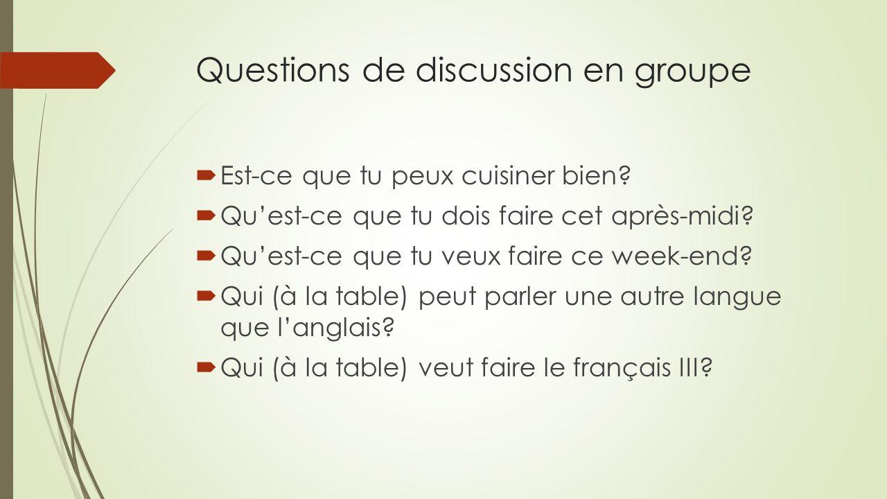 Questions de discussion en groupe  Est-ce que tu peux cuisiner bien?  Qu'est-ce que tu dois faire cet après-midi?  Qu'est-ce que tu veux faire ce w