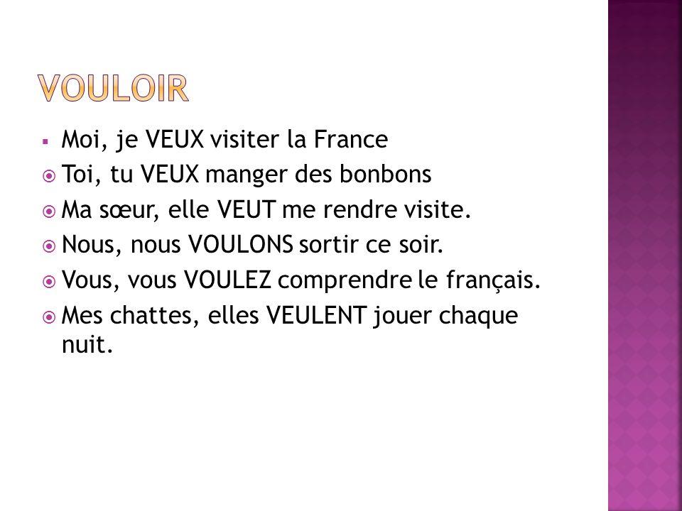  Moi, je VEUX visiter la France  Toi, tu VEUX manger des bonbons  Ma sœur, elle VEUT me rendre visite.  Nous, nous VOULONS sortir ce soir.  Vous,