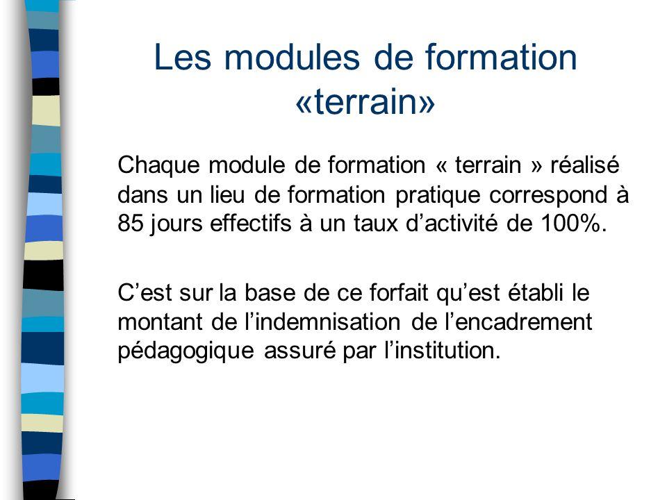 Les modules de formation «terrain» Chaque module de formation « terrain » réalisé dans un lieu de formation pratique correspond à 85 jours effectifs à