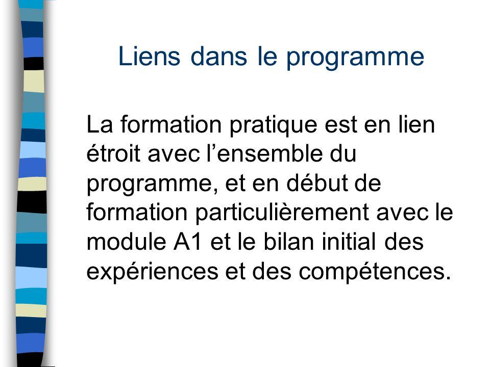Liens dans le programme La formation pratique est en lien étroit avec l'ensemble du programme, et en début de formation particulièrement avec le modul