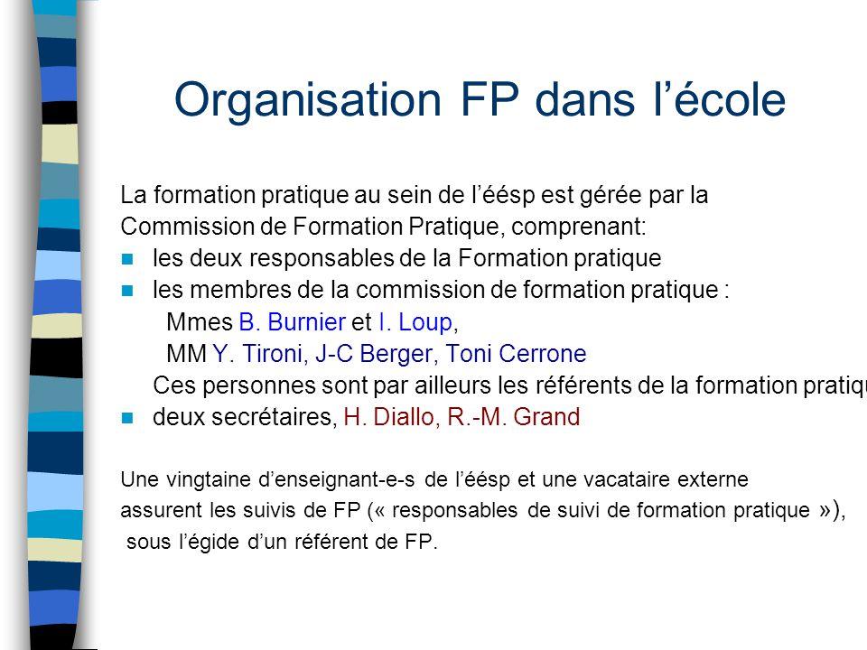 Organisation FP dans l'école La formation pratique au sein de l'éésp est gérée par la Commission de Formation Pratique, comprenant: les deux responsab