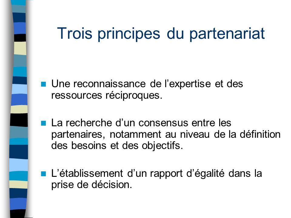 Trois principes du partenariat Une reconnaissance de l'expertise et des ressources réciproques. La recherche d'un consensus entre les partenaires, not