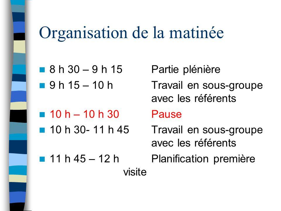 Organisation de la matinée 8 h 30 – 9 h 15 Partie plénière 9 h 15 – 10 h Travail en sous-groupe avec les référents 10 h – 10 h 30Pause 10 h 30- 11 h 4